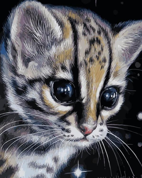 «Детеныш леопарда»Цветной (Premium)<br><br><br>Артикул: ME1076_Z<br>Основа: Холст<br>Сложность: средние<br>Размер: 30x40 см<br>Количество цветов: 25<br>Техника рисования: Без смешивания красок