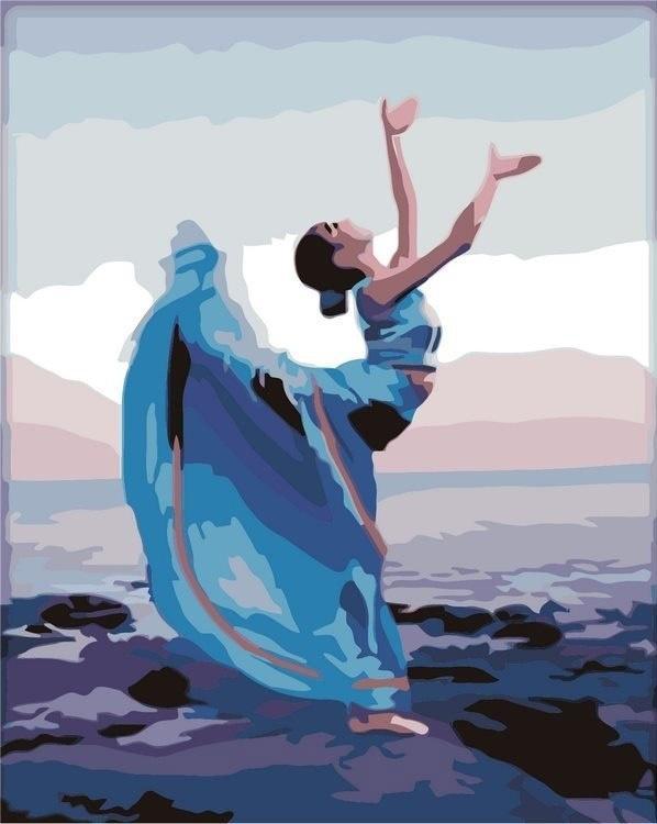 «Танец у моря»Раскраски по номерам Menglei (Standart)<br><br><br>Артикул: MG643_S<br>Основа: Холст<br>Сложность: сложные<br>Размер: 40x50 см<br>Количество цветов: 25<br>Техника рисования: Без смешивания красок