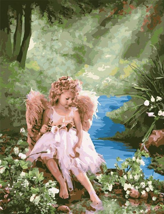 """Картина по номерам «Девочка ангел» Лизы ДжейнЦветной (Premium)<br>Яркий, эмоционально теплый сюжет одаривает позитивной энергией и наполняет сердце светлыми чувствами. Картина """"Девочка-ангел"""" - идеальный вариант украшения интерьера для тех, кто следует советам фен-шуй. Чистый ручей принесет в дом достаток и удачу, зелен...<br><br>Артикул: MMC070_Z<br>Основа: Холст<br>Сложность: средние<br>Размер: 50x65 см<br>Количество цветов: 25<br>Техника рисования: Без смешивания красок"""