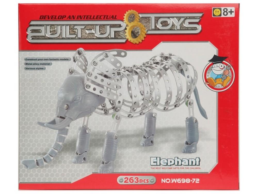 Конструктор металлический «Слон»Пластиковые конструкторы (Модели для сборки)<br>Металлический конструктор «Слон» состоит из 263 алюминиевых пластин, которые соединяются между собой шурупами. Собирая такую модель, ребёнок получит такие полезные навыки как работа со схемами по сборке, использование отвертки, а также разовьет логическое...<br><br>Артикул: W698-72<br>Материал: Металл (алюминиевые пластины), пластик<br>Размер упаковки: 29x24,5x4,3 см<br>Возраст: от 8 лет