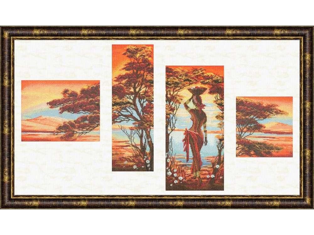 Набор для вышивания «Оранжевая река»Вышивка крестом Золотое Руно<br><br><br>Артикул: АИ-013<br>Основа: канва Aida 14<br>Размер: 39,6x81,8 см<br>Техника вышивки: счетный крест<br>Тип схемы вышивки: Черно-белая схема<br>Цвет канвы: Винтажная<br>Количество цветов: 40<br>Заполнение: Полное<br>Техника: Вышивка крестом