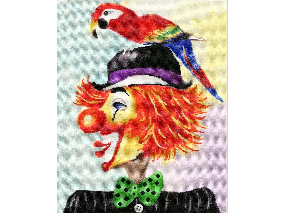 Набор для вышивания «Клоун с попугаем» Юрия МацикаВышивка крестом Золотое Руно<br><br><br>Артикул: ВК-030<br>Основа: канва Aida 16<br>Размер: 30,2x24,2 см<br>Техника вышивки: счетный крест<br>Тип схемы вышивки: Черно-белая схема<br>Цвет канвы: Кремовый<br>Количество цветов: 32<br>Заполнение: Полное<br>Рисунок на канве: не нанесён<br>Техника: Вышивка крестом
