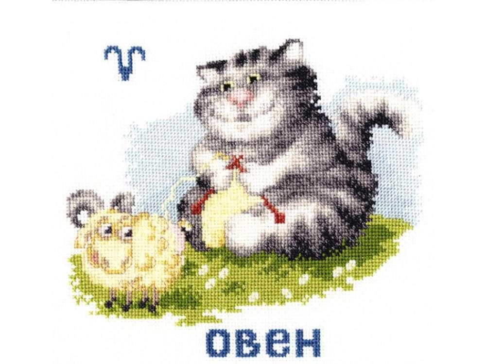 Набор для вышивания «Знак зодиака «Овен»»Вышивка крестом Золотое Руно<br><br><br>Артикул: ВЛ-001<br>Основа: канва Aida 16<br>Размер: 14,3x15,5 см<br>Техника вышивки: счетный крест<br>Тип схемы вышивки: Черно-белая схема<br>Цвет канвы: Белый<br>Количество цветов: 20<br>Заполнение: Частичное<br>Рисунок на канве: не нанесён<br>Техника: Вышивка крестом