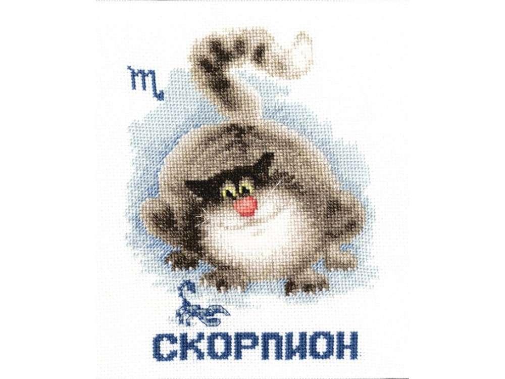 Набор для вышивания «Знак зодиака «Скорпион»»Вышивка крестом Золотое Руно<br><br><br>Артикул: ВЛ-008<br>Основа: канва Aida 16<br>Размер: 14,8x11,5 см<br>Техника вышивки: счетный крест<br>Тип схемы вышивки: Черно-белая схема<br>Цвет канвы: Белый<br>Количество цветов: 14<br>Заполнение: Частичное<br>Рисунок на канве: не нанесён<br>Техника: Вышивка крестом