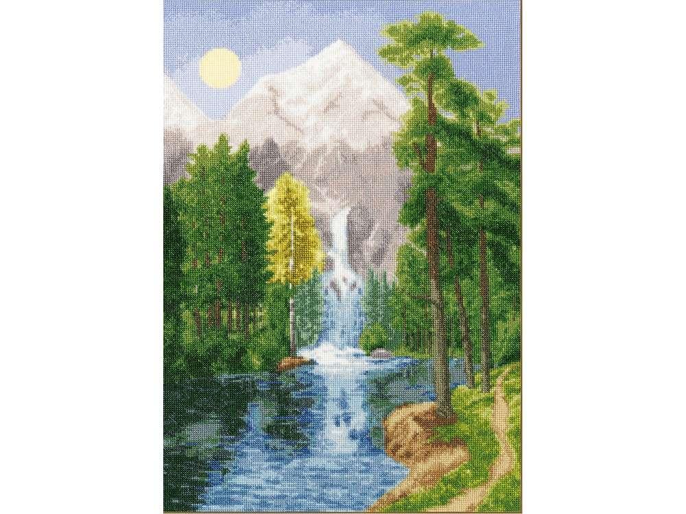 Набор для вышивания «Водопад в горах»Вышивка крестом Золотое Руно<br><br><br>Артикул: ВМ-027<br>Основа: канва Aida 14<br>Размер: 44,5x30,9 см<br>Техника вышивки: счетный крест<br>Тип схемы вышивки: Черно-белая схема<br>Цвет канвы: Белый<br>Количество цветов: 44<br>Заполнение: Полное<br>Рисунок на канве: не нанесён<br>Техника: Вышивка крестом