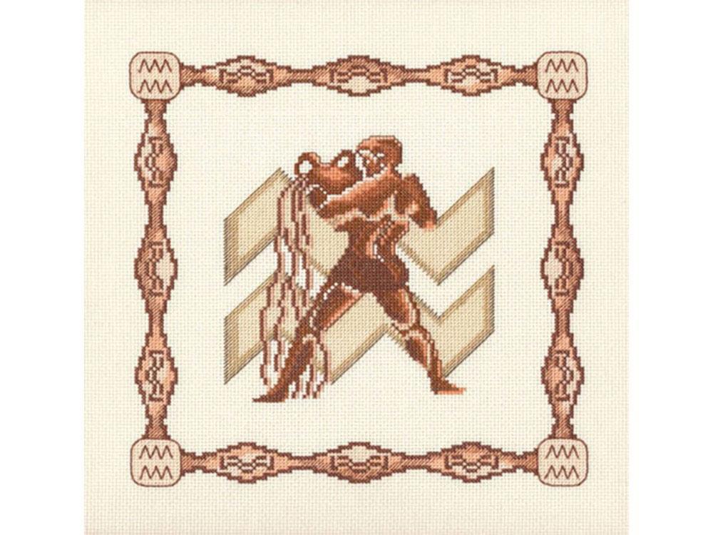Набор для вышивания «Водолей»Вышивка крестом Золотое Руно<br><br><br>Артикул: Г-002<br>Основа: канва Aida 14<br>Размер: 23x23 см<br>Техника вышивки: счетный крест<br>Тип схемы вышивки: Черно-белая схема<br>Цвет канвы: Кремовый<br>Количество цветов: 10<br>Заполнение: Частичное<br>Рисунок на канве: не нанесён<br>Техника: Вышивка крестом