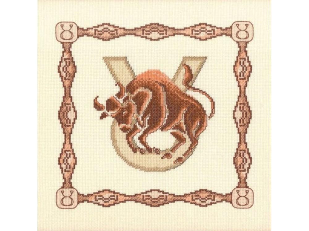 Набор для вышивания «Телец»Вышивка крестом Золотое Руно<br><br><br>Артикул: Г-005<br>Основа: канва Aida 14<br>Размер: 23x23 см<br>Техника вышивки: счетный крест<br>Тип схемы вышивки: Черно-белая схема<br>Цвет канвы: Кремовый<br>Количество цветов: 10<br>Заполнение: Частичное<br>Рисунок на канве: не нанесён<br>Техника: Вышивка крестом