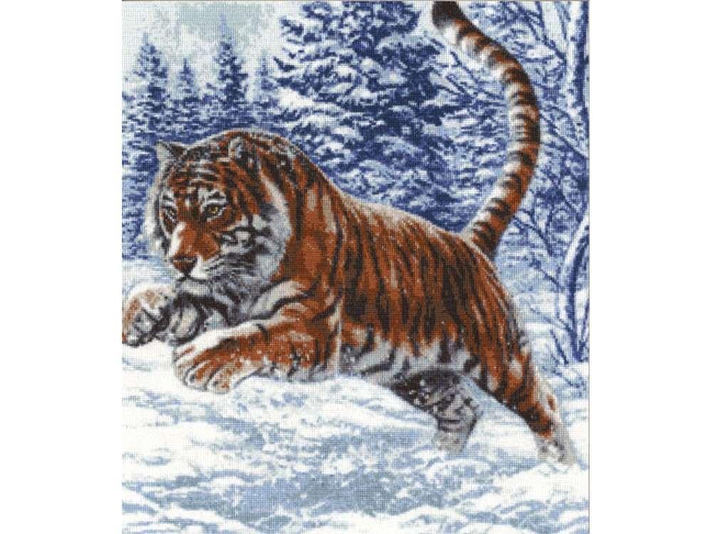 Набор для вышивания «Прыжок тигра»Вышивка крестом Золотое Руно<br><br><br>Артикул: ДЖ-019<br>Основа: канва Aida 16<br>Размер: 40x35,2 см<br>Техника вышивки: счетный крест<br>Тип схемы вышивки: Черно-белая схема<br>Цвет канвы: Белый<br>Количество цветов: 24<br>Заполнение: Полное<br>Рисунок на канве: не нанесён<br>Техника: Вышивка крестом