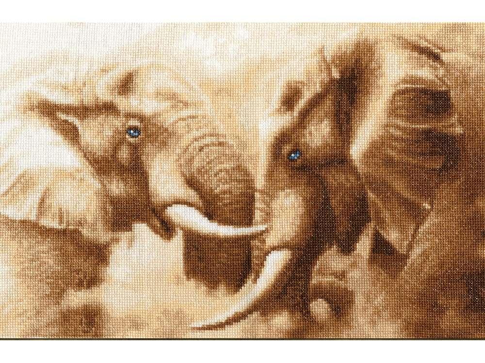 Набор для вышивания «Слоны»Вышивка крестом Золотое Руно<br><br><br>Артикул: ЖС-002<br>Основа: канва Aida 14<br>Размер: 22,7x35,1 см<br>Техника вышивки: счетный крест<br>Тип схемы вышивки: Черно-белая схема<br>Цвет канвы: Кремовый<br>Количество цветов: 12<br>Заполнение: Полное<br>Рисунок на канве: не нанесён<br>Техника: Вышивка крестом