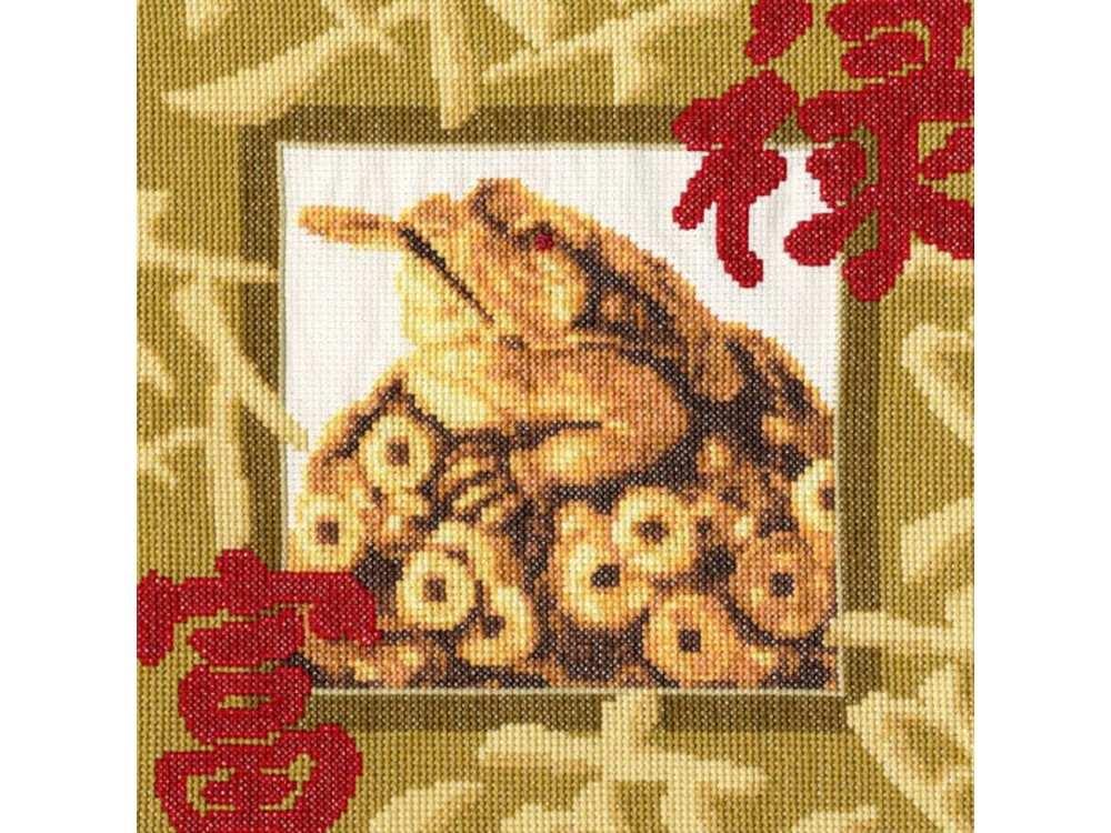 Набор для вышивания «Золотая жаба»Вышивка крестом Золотое Руно<br><br><br>Артикул: МГ-020<br>Основа: канва Aida 14<br>Размер: 22,1x22,1 см<br>Техника вышивки: счетный крест<br>Тип схемы вышивки: Черно-белая схема<br>Цвет канвы: Кремовый<br>Количество цветов: 17<br>Заполнение: Частичное<br>Рисунок на канве: не нанесён<br>Техника: Вышивка крестом