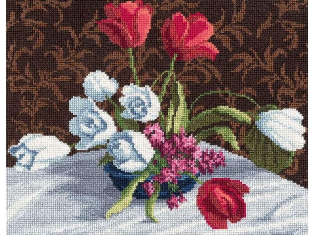 Набор для вышивания «Белые тюльпаны»Вышивка крестом Золотое Руно<br><br><br>Артикул: М-005<br>Основа: канва Aida 18<br>Размер: 18,5x23 см<br>Техника вышивки: счетный крест<br>Тип схемы вышивки: Черно-белая схема<br>Цвет канвы: Белый<br>Количество цветов: 36<br>Заполнение: Полное<br>Рисунок на канве: не нанесён<br>Техника: Вышивка крестом