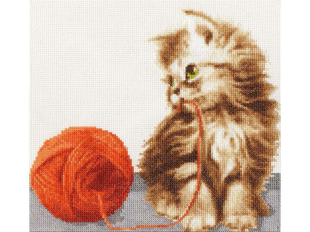 Набор для вышивания «Котенок с клубком»Вышивка крестом Золотое Руно<br><br><br>Артикул: НЛ-042<br>Основа: канва Aida 14<br>Размер: 21x24 см<br>Техника вышивки: счетный крест<br>Тип схемы вышивки: Черно-белая схема<br>Цвет канвы: Кремовый<br>Количество цветов: 18<br>Заполнение: Частичное<br>Рисунок на канве: не нанесён<br>Техника: Вышивка крестом