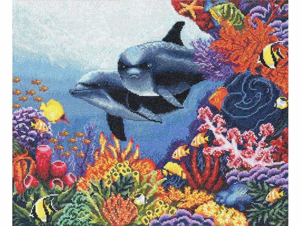 Набор для вышивания «Коралловый сад»Вышивка крестом Золотое Руно<br><br><br>Артикул: ПМ-010<br>Основа: канва Aida 16<br>Размер: 29,6x36,2 см<br>Техника вышивки: счетный крест<br>Тип схемы вышивки: Черно-белая схема<br>Цвет канвы: Белый<br>Количество цветов: 52<br>Заполнение: Полное<br>Рисунок на канве: не нанесён<br>Техника: Вышивка крестом