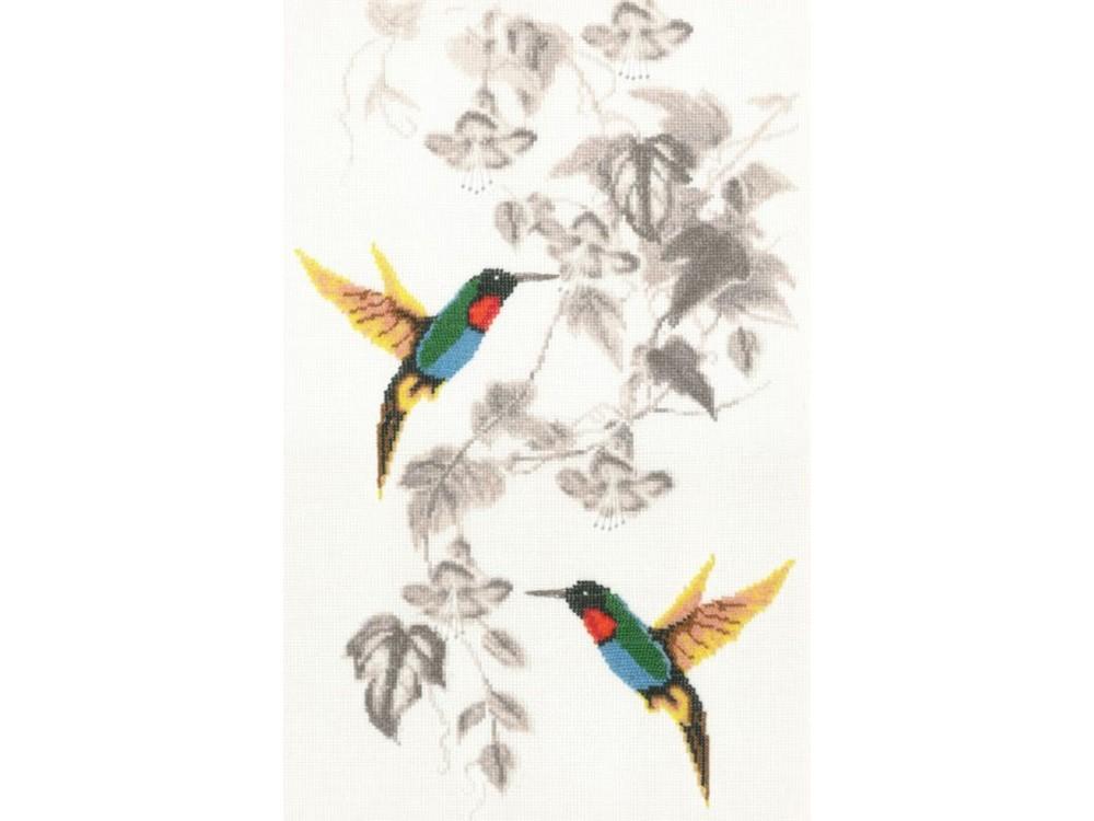 Набор для вышивания «Райские птички»Вышивка крестом Золотое Руно<br><br><br>Артикул: РС-016<br>Основа: канва Aida 14<br>Размер: 45,5x27 см<br>Техника вышивки: счетный крест<br>Тип схемы вышивки: Черно-белая схема<br>Цвет канвы: Белый<br>Количество цветов: 6<br>Заполнение: Частичное<br>Рисунок на канве: не нанесён<br>Техника: Вышивка крестом