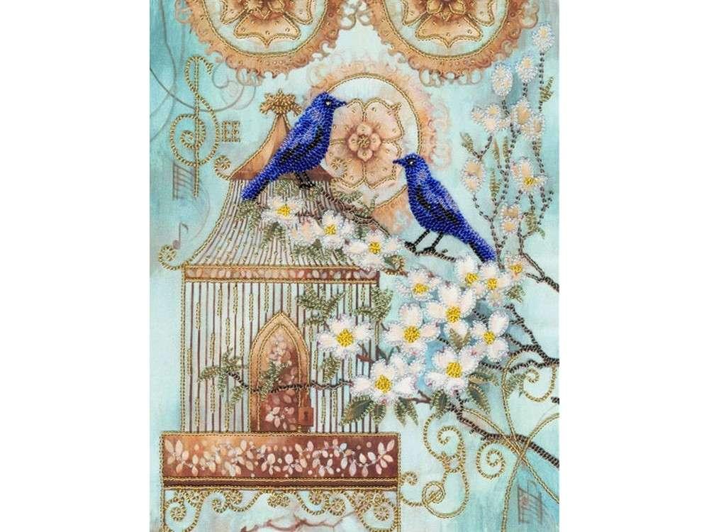 Набор вышивки бисером «Синие птицы счастья»Вышивка бисером Золотое Руно<br><br><br>Артикул: РТ-027<br>Основа: искусственный шелк<br>Размер: 26,5x34 см<br>Техника вышивки: бисер<br>Тип схемы вышивки: Цветная схема<br>Количество цветов: 9<br>Заполнение: Частичное<br>Рисунок на канве: нанесён рисунок и схема<br>Техника: Вышивка бисером