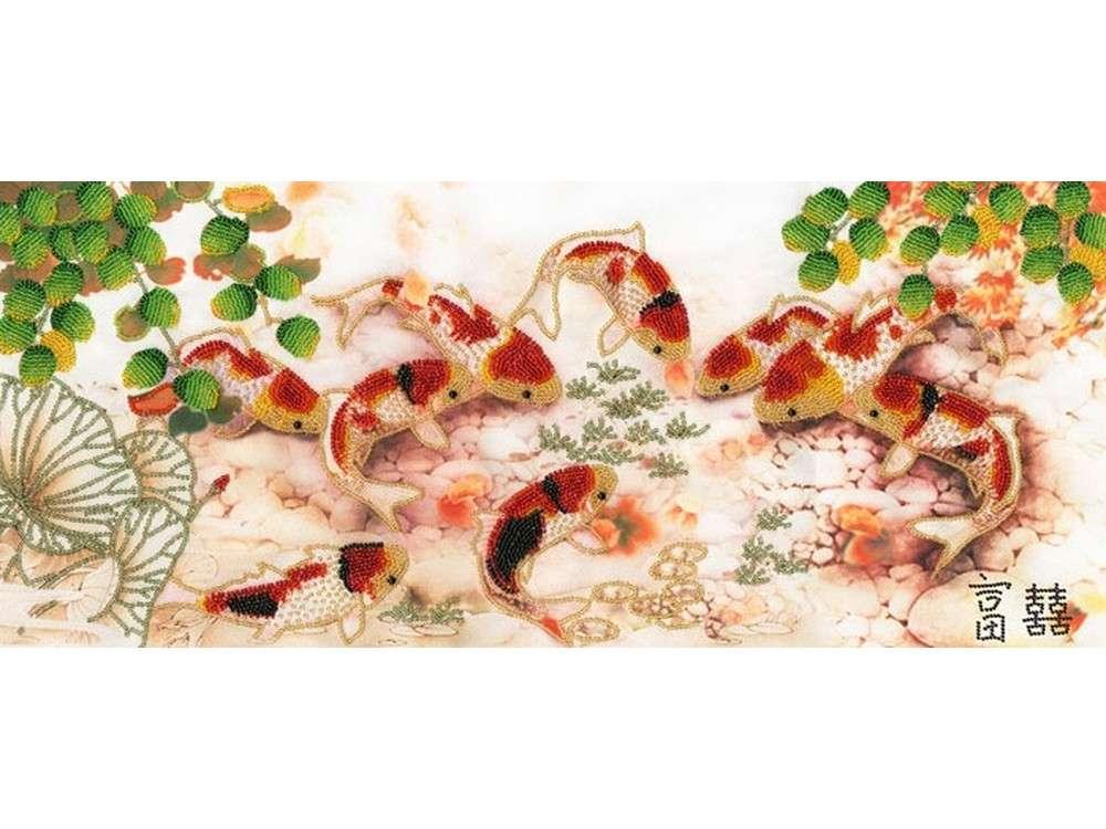 Набор вышивки бисером «Японские карпы»Вышивка бисером Золотое Руно<br><br><br>Артикул: РТ-028<br>Основа: искусственный шелк<br>Размер: 24,6x56,1 см<br>Техника вышивки: бисер<br>Тип схемы вышивки: Цветная схема<br>Количество цветов: 11<br>Заполнение: Частичное<br>Рисунок на канве: нанесён рисунок и схема<br>Техника: Вышивка бисером