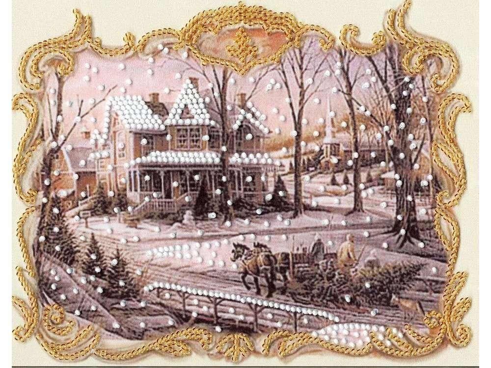 Набор вышивки бисером «Накануне Рождества»Вышивка бисером Золотое Руно<br><br><br>Артикул: РТ-118<br>Основа: искусственный шелк<br>Размер: 20x15,5 см<br>Техника вышивки: бисер<br>Тип схемы вышивки: Цветная схема<br>Количество цветов: 2<br>Заполнение: Частичное<br>Рисунок на канве: нанесён рисунок и схема<br>Техника: Вышивка бисером