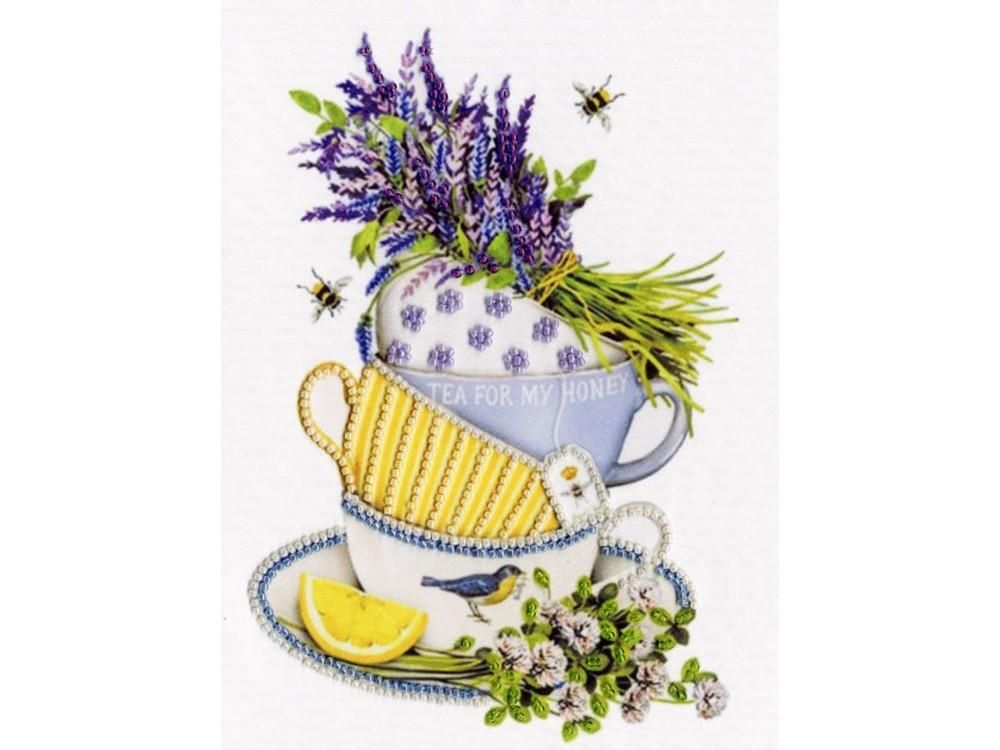 Набор вышивки бисером «Лавандовый чай»Вышивка бисером Золотое Руно<br><br><br>Артикул: РТ-154<br>Основа: искусственный шелк<br>Размер: 20x16 см<br>Техника вышивки: бисер<br>Тип схемы вышивки: Цветная схема<br>Количество цветов: 6<br>Заполнение: Частичное<br>Рисунок на канве: нанесён рисунок и схема<br>Техника: Вышивка бисером