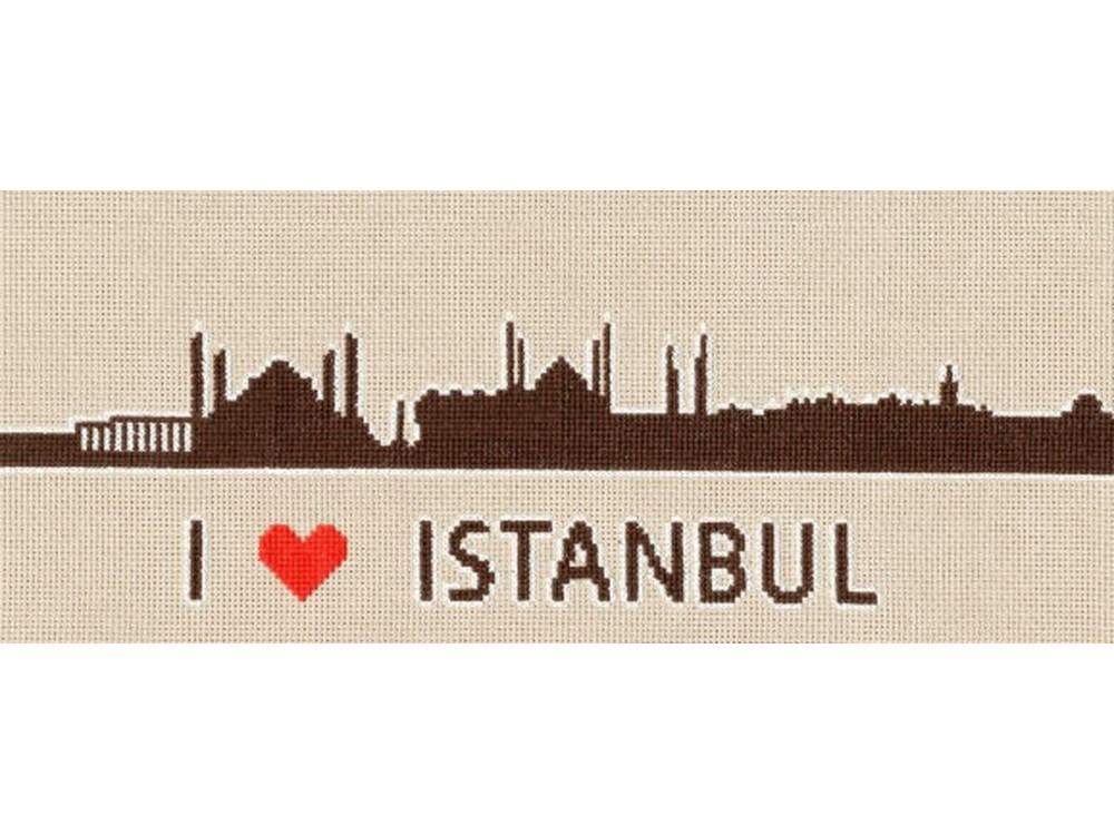 Набор для вышивания «Я люблю Стамбул»Вышивка крестом Золотое Руно<br><br><br>Артикул: СГ-008<br>Основа: канва Aida 18<br>Размер: 11,9x28,4 см<br>Техника вышивки: счетный крест<br>Тип схемы вышивки: Черно-белая схема<br>Цвет канвы: Серо-бежевый<br>Количество цветов: 3<br>Заполнение: Частичное<br>Рисунок на канве: не нанесён<br>Техника: Вышивка крестом