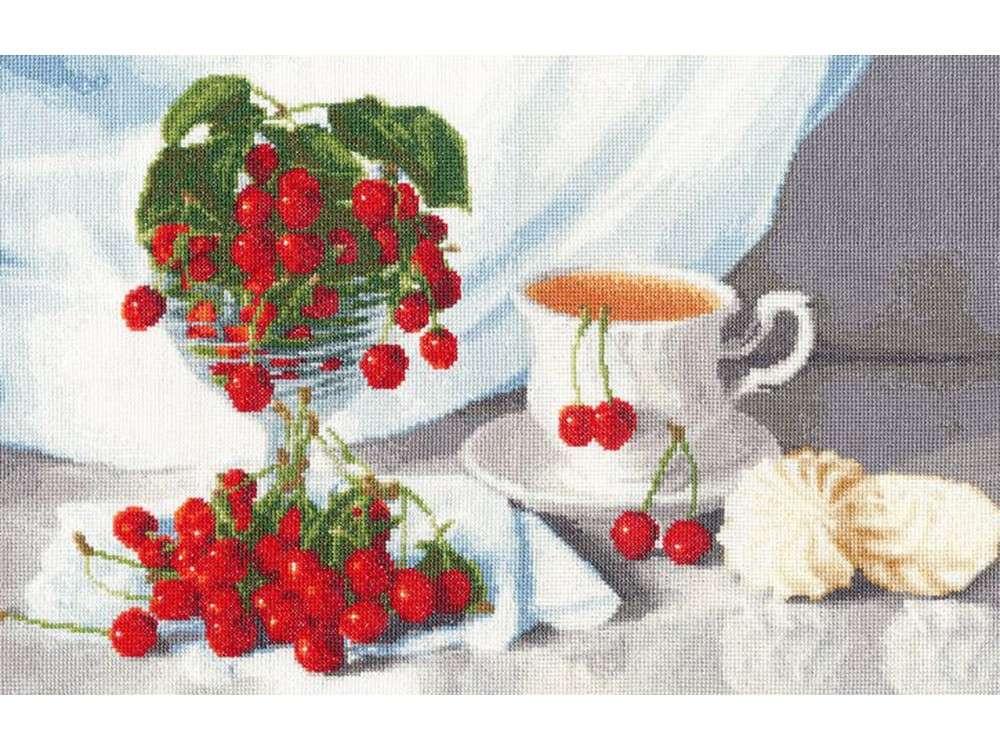 Набор для вышивания «Вишневый чай»Вышивка крестом Золотое Руно<br><br><br>Артикул: СЖ-030<br>Основа: канва Aida 16<br>Размер: 24,9x39,4 см<br>Техника вышивки: счетный крест<br>Тип схемы вышивки: Черно-белая схема<br>Цвет канвы: Кремовый<br>Количество цветов: 39<br>Заполнение: Полное<br>Рисунок на канве: не нанесён<br>Техника: Вышивка крестом