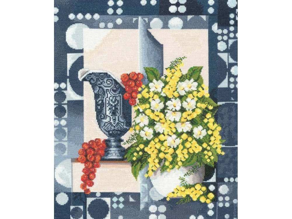 Набор для вышивания «Натюрморт с мимозой»Вышивка крестом Золотое Руно<br><br><br>Артикул: СЖ-032<br>Основа: канва Aida 16<br>Размер: 37,7x31,8 см<br>Техника вышивки: счетный крест<br>Тип схемы вышивки: Черно-белая схема<br>Цвет канвы: Белый<br>Количество цветов: 42<br>Заполнение: Полное<br>Рисунок на канве: не нанесён<br>Техника: Вышивка крестом