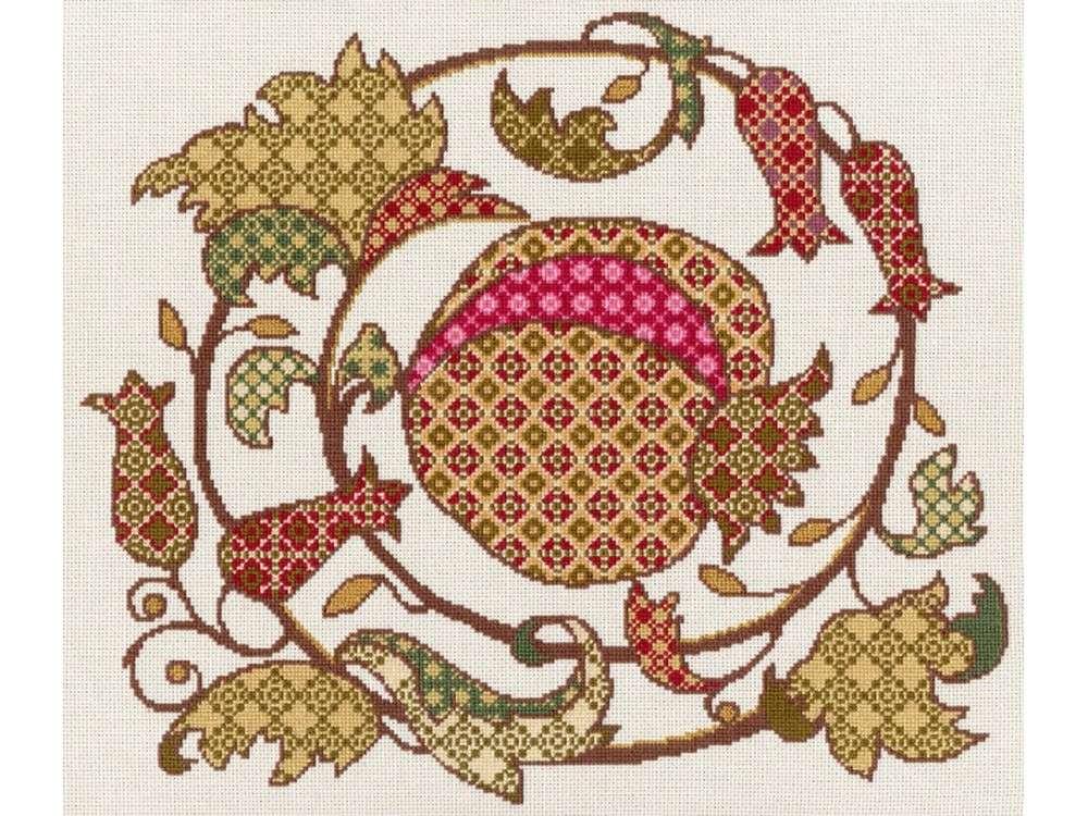 Набор для вышивания «Золотой гранат»Вышивка крестом Золотое Руно<br><br><br>Артикул: СШ-009<br>Основа: канва Aida 18<br>Размер: 27,8x32,7 см<br>Техника вышивки: счетный крест<br>Тип схемы вышивки: Черно-белая схема<br>Цвет канвы: Кремовый<br>Количество цветов: 13<br>Рисунок на канве: не нанесён<br>Техника: Вышивка крестом