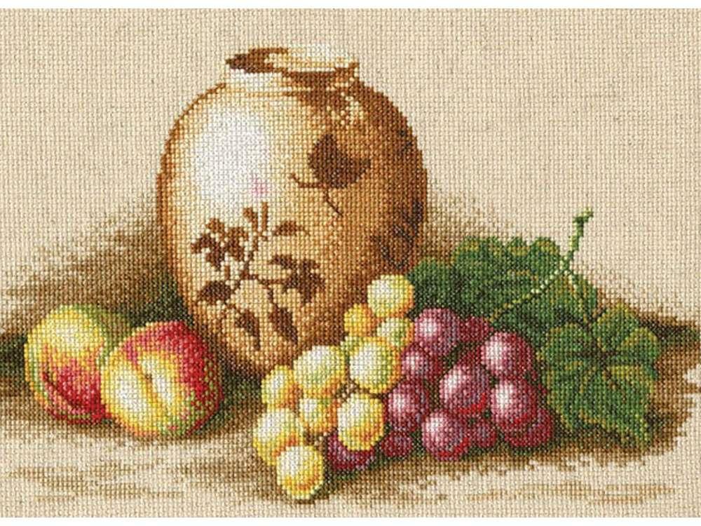 Набор для вышивания «Персики и виноград»Вышивка крестом Золотое Руно<br><br><br>Артикул: ФИ-004<br>Основа: канва Aida хлопок-лен 14<br>Размер: 21x27,5 см<br>Техника вышивки: счетный крест<br>Тип схемы вышивки: Черно-белая схема<br>Цвет канвы: Льняной<br>Количество цветов: 35<br>Заполнение: Частичное<br>Рисунок на канве: не нанесён<br>Техника: Вышивка крестом
