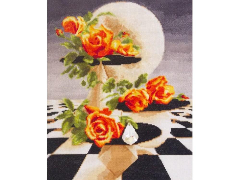 Набор для вышивания «Розы и кристалл»Вышивка крестом Золотое Руно<br><br><br>Артикул: Ф-027<br>Основа: канва Aida 16<br>Размер: 30,4x23,9 см<br>Техника вышивки: счетный крест<br>Тип схемы вышивки: Черно-белая схема<br>Цвет канвы: Кремовый<br>Количество цветов: 31<br>Заполнение: Полное<br>Рисунок на канве: не нанесён<br>Техника: Вышивка крестом