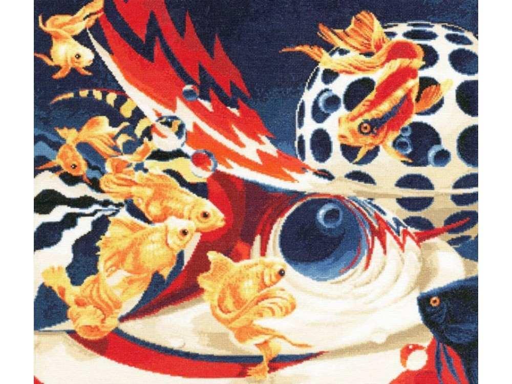 Набор для вышивания «Золотые рыбки»Вышивка крестом Золотое Руно<br><br><br>Артикул: Ф-030<br>Основа: канва Aida 16<br>Размер: 40,9x46,7 см<br>Техника вышивки: счетный крест<br>Тип схемы вышивки: Черно-белая схема<br>Цвет канвы: Кремовый<br>Количество цветов: 30<br>Заполнение: Полное<br>Рисунок на канве: не нанесён<br>Техника: Вышивка крестом