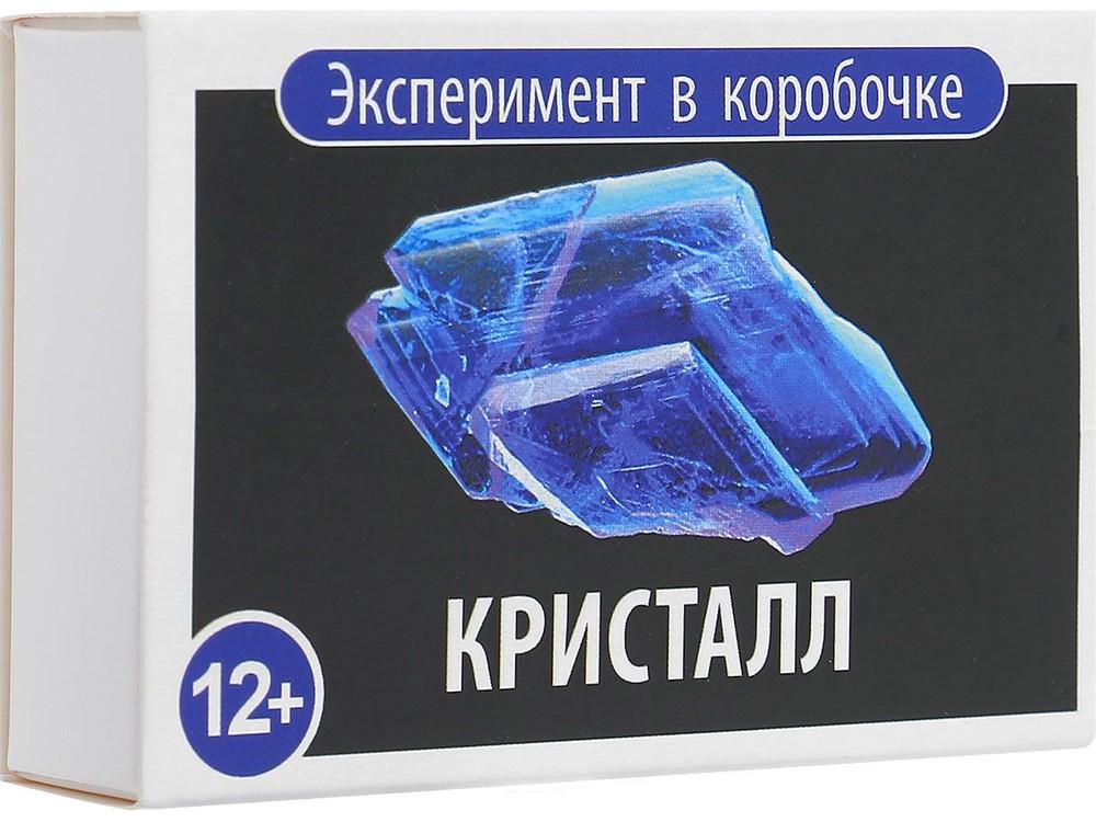Простая наука «Кристалл». Эксперимент в коробочкеНаборы для опытов и экспериментов<br>Набор для опытов и экспериментов Простая Наука Кристалл познакомит вашего ребенка с настоящим кристаллом. Выращиваем лазурно-синий монокристалл из сульфата меди. Для этого потребуется чистая посуда и кипяченная вода комнатной температуры. Сульфат меди н...<br><br>Артикул: 0305<br>Вес: 70 г<br>Размер упаковки: 9x6x2,5 см<br>Возраст: от 12 лет