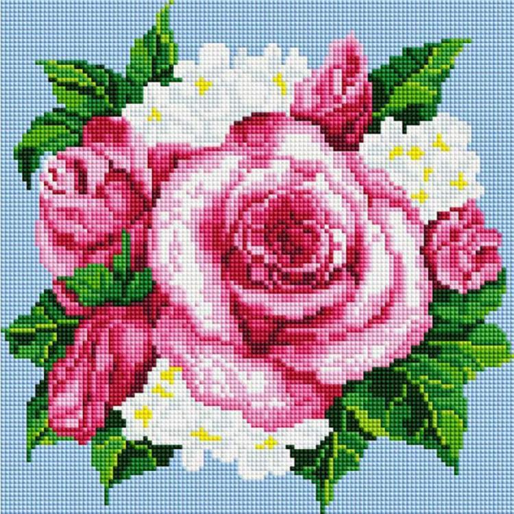 Алмазная вышивка «Розовые розы»Алмазная вышивка фирмы Белоснежка<br><br><br>Артикул: 085-ST-S<br>Основа: Холст на подрамнике<br>Сложность: сложные<br>Размер: 30x30 см<br>Выкладка: Полная<br>Количество цветов: 15<br>Тип страз: Квадратные
