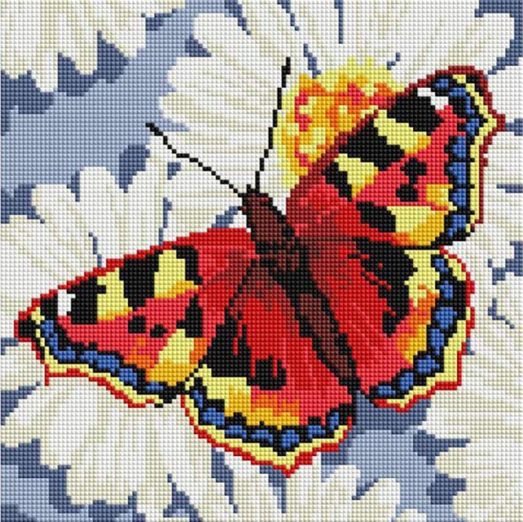 Алмазная вышивка «Бабочка на ромашках»Алмазная вышивка фирмы Белоснежка<br><br><br>Артикул: 087-ST-S<br>Основа: Холст на подрамнике<br>Сложность: сложные<br>Размер: 30x30 см<br>Выкладка: Полная<br>Количество цветов: 13<br>Тип страз: Квадратные