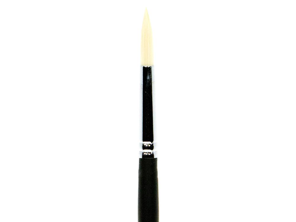 Кисть синтетическая «Зима» круглая №8Аксессуары для рисования картин по номерам<br>Кисть Малевичъ (серия «Зима») - имеет в меру жесткий и упругий волос. Может быть использована для работы над картиной акриловыми или масляными красками, темперой.<br> <br> Длина ручки: 18 см (изготовлена из березы, покрыта черным матовым лаком)<br> Обойма: цель...<br><br>Артикул: 711006