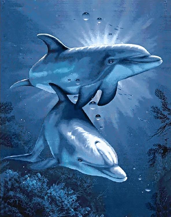 Алмазная вышивка «Свидание дельфинов»Алмазная вышивка Гранни<br><br><br>Артикул: Ag115<br>Основа: Холст без подрамника<br>Сложность: сложные<br>Размер: 38х48 см<br>Выкладка: Полная<br>Количество цветов: 23<br>Тип страз: Квадратные