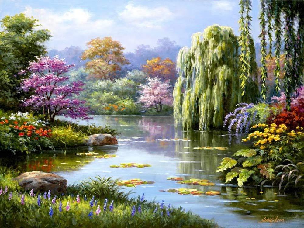 Стразы «Живописное озеро» Сен КимаАлмазная вышивка Гранни<br><br><br>Артикул: Ag2240<br>Основа: Холст без подрамника<br>Сложность: сложные<br>Размер: 38х48 см<br>Выкладка: Полная<br>Количество цветов: 42<br>Тип страз: Квадратные