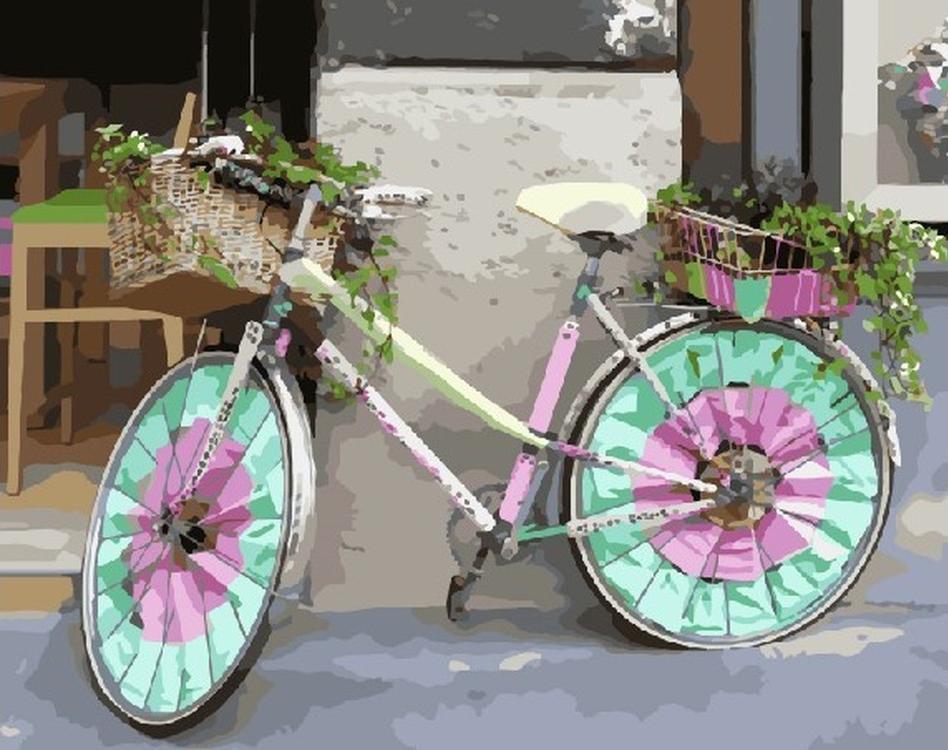 Картина по номерам «Цветной велосипед»Раскраски по номерам Color Kit<br><br><br>Артикул: CG721<br>Основа: Холст<br>Сложность: средние<br>Размер: 40x50 см<br>Количество цветов: 29<br>Техника рисования: Без смешивания красок