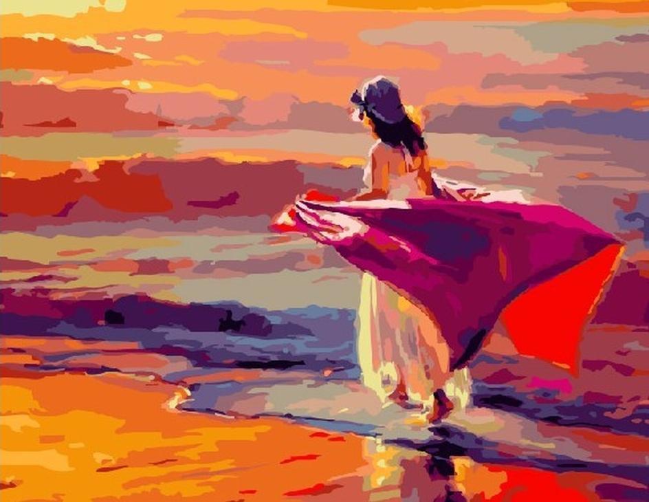 Картина по номерам «Прогулка по пляжу» Стива ХендерсонаРаскраски по номерам Color Kit<br><br><br>Артикул: CG723<br>Основа: Холст<br>Сложность: средние<br>Размер: 40x50 см<br>Количество цветов: 25<br>Техника рисования: Без смешивания красок