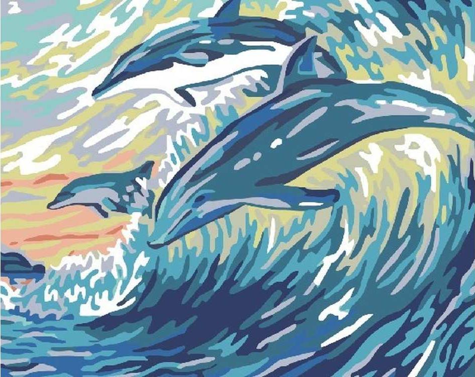 Картина по номерам «Дельфины в волнах»Раскраски по номерам Color Kit<br><br><br>Артикул: CG748<br>Основа: Холст<br>Сложность: очень легкие<br>Размер: 40x50 см<br>Количество цветов: 12<br>Техника рисования: Без смешивания красок