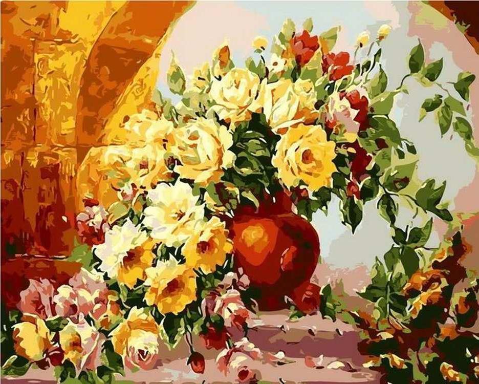 Картина по номерам «Нежный букет роз» Антона ГорцевичаРаскраски по номерам Color Kit<br><br><br>Артикул: CG785<br>Основа: Холст<br>Сложность: сложные<br>Размер: 40x50 см<br>Количество цветов: 27<br>Техника рисования: Без смешивания красок