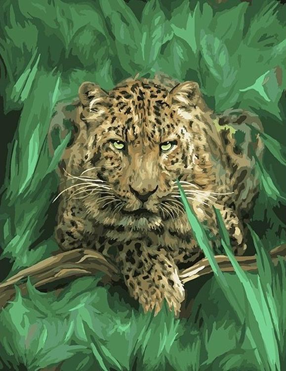 Картина по номерам «Гепард в траве»Раскраски по номерам Color Kit<br><br><br>Артикул: CG791<br>Основа: Холст<br>Сложность: средние<br>Размер: 40x50 см<br>Количество цветов: 26<br>Техника рисования: Без смешивания красок