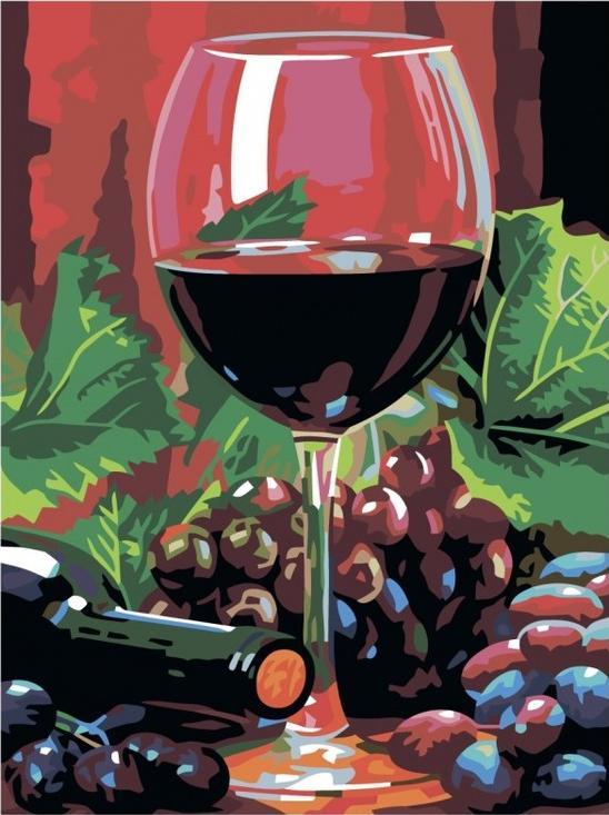 Картина по номерам «Бокал вина»Раскраски по номерам Color Kit<br><br><br>Артикул: CG797<br>Основа: Холст<br>Сложность: средние<br>Размер: 40x50 см<br>Количество цветов: 19<br>Техника рисования: Без смешивания красок