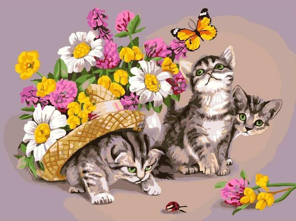 Картина по номерам «Три котенка» Надежды БусаревойРаскраски по номерам Color Kit<br><br><br>Артикул: CG802<br>Основа: Холст<br>Сложность: средние<br>Размер: 40x50 см<br>Количество цветов: 23<br>Техника рисования: Без смешивания красок