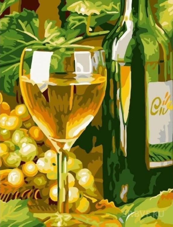 Картина по номерам «Белое вино»Раскраски по номерам Color Kit<br><br><br>Артикул: CG804<br>Основа: Холст<br>Сложность: легкие<br>Размер: 40x50 см<br>Количество цветов: 17<br>Техника рисования: Без смешивания красок