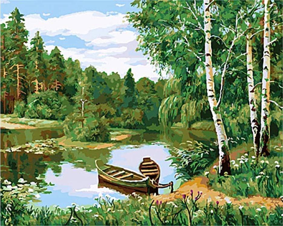 «Лодки у берега»Paintboy (Premium)<br><br><br>Артикул: GX3080<br>Основа: Холст<br>Сложность: очень сложные<br>Размер: 40x50 см<br>Количество цветов: 27