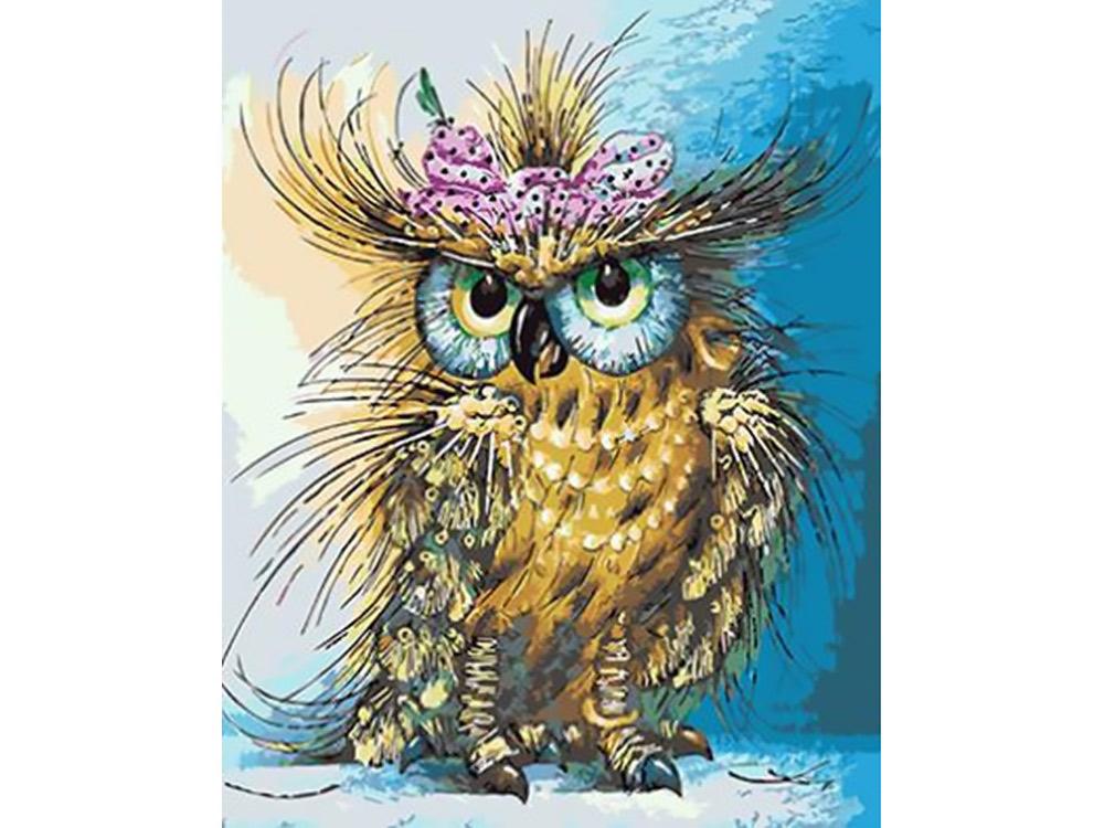 Картина по номерам «Мадам сова»Paintboy (Premium)<br><br><br>Артикул: GX4595<br>Основа: Холст<br>Сложность: средние<br>Размер: 40x50 см<br>Количество цветов: 21