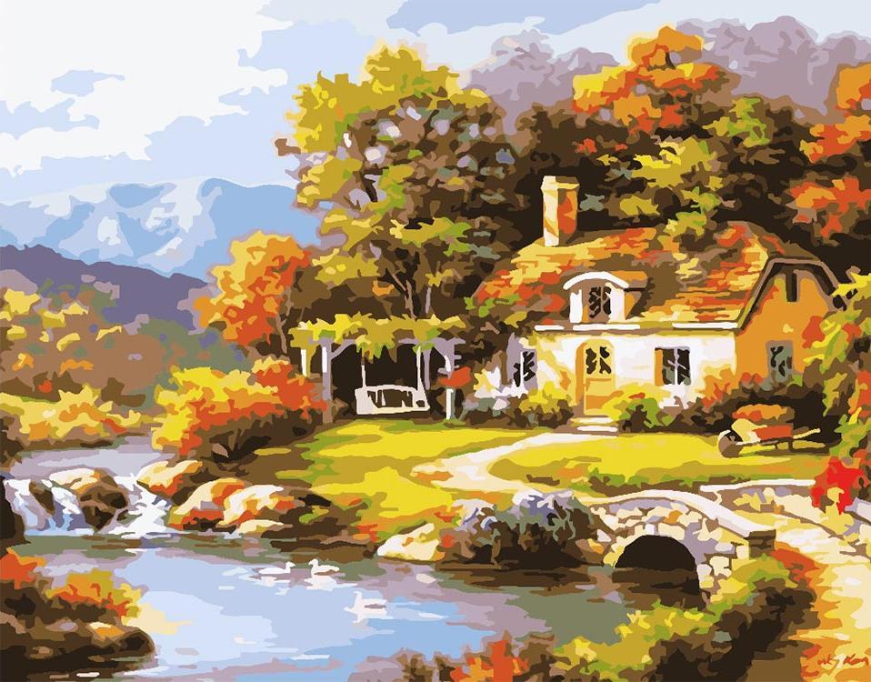 Картина по номерам «Уютный домик» Сен КимаPaintboy (Premium)<br><br><br>Артикул: GX6263<br>Основа: Холст<br>Сложность: средние<br>Размер: 40x50 см<br>Количество цветов: 24<br>Техника рисования: Без смешивания красок