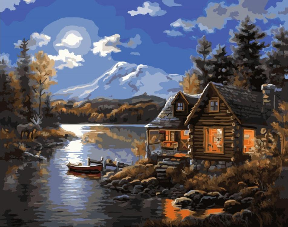 мой домик под лодкой и речка