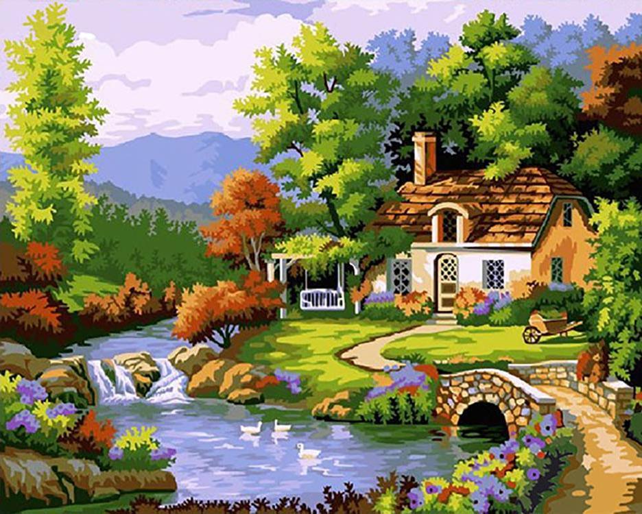 Картина по номерам «Дом у реки» Сен КимаPaintboy (Premium)<br><br><br>Артикул: GX7633<br>Основа: Холст<br>Сложность: средние<br>Размер: 40x50 см<br>Количество цветов: 24<br>Техника рисования: Без смешивания красок