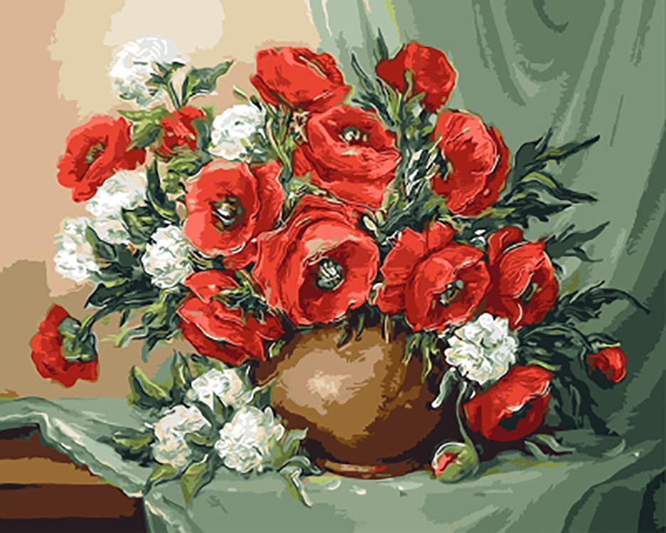 Картина по номерам «Маки и хризантемы» Анки БулгаруPaintboy (Premium)<br><br><br>Артикул: GX9422<br>Основа: Холст<br>Сложность: средние<br>Размер: 40x50 см<br>Количество цветов: 26<br>Техника рисования: Без смешивания красок
