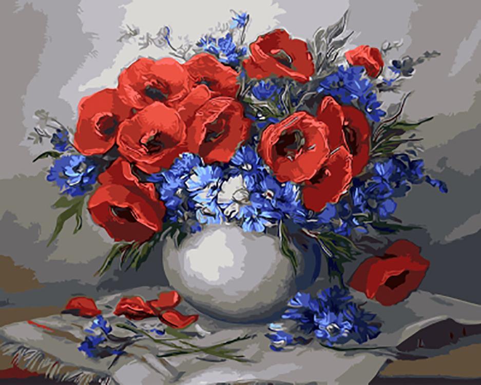 Картина по номерам «Цветочный натюрморт» Анки БулгаруPaintboy (Premium)<br><br><br>Артикул: GX9423<br>Основа: Холст<br>Сложность: средние<br>Размер: 40x50 см<br>Количество цветов: 27<br>Техника рисования: Без смешивания красок
